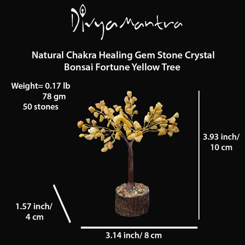 Divya Mantra Feng Shui Yellow Aventurine Chakra Healing Gem Stone Bonsai Fortune Vastu Plant Sculpture Tree; Good Luck, Wealth, Success & Prosperity; Home Office Table Decor Gift Item; 50 Crystals - Divya Mantra