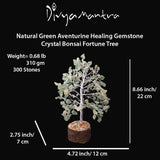 Divya Mantra Feng Shui Green Aventurine Chakra Healing Gem Stone Bonsai Fortune Vastu Plant Sculpture Tree; Good Luck, Wealth, Success & Prosperity; Home Office Table Decor Gift Item; 300 Crystals