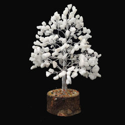 Divya Mantra Feng Shui Natural White King Chakra Healing Gem Stone Bonsai Fortune Vastu Plant Sculpture Tree; Good Luck, Wealth, Success & Prosperity; Home Office Table Decor Gift Item; 300 Crystals