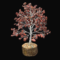 Divya Mantra Feng Shui Natural Red Jasper Chakra Healing Gem Stone Bonsai Fortune Vastu Plant Sculpture Tree; Good Luck, Wealth, Success & Prosperity; Home Office Table Decor Gift Item; 300 Crystals