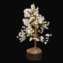 Divya Mantra Feng Shui Natural White King Chakra Healing Gem Stone Bonsai Fortune Vastu Plant Sculpture Tree; Good Luck, Wealth, Success & Prosperity; Home Office Table Decor Gift Item; 300 Crystals - Divya Mantra