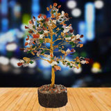 Divya Mantra Feng Shui Natural Mixed Seven Chakra Healing Gem Stone Bonsai Fortune Vastu Plant Sculpture Tree; Good Luck, Wealth, Success & Prosperity; Home Office Table Decor Gift Item; 300 Crystals - Divya Mantra