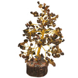 Divya Mantra Feng Shui Natural Tiger Eye Chakra Healing Gem Stone Bonsai Fortune Vastu Plant Sculpture Tree; Good Luck, Wealth, Success & Prosperity; Home Office Table Decor Gift Item; 300 Crystals - Divya Mantra