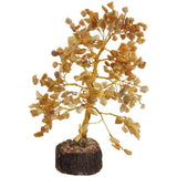 Divya Mantra Feng Shui Yellow Aventurine Chakra Healing Gem Stone Bonsai Fortune Vastu Plant Sculpture Tree; Good Luck, Wealth, Success & Prosperity; Home Office Table Decor Gift Item; 300 Crystals
