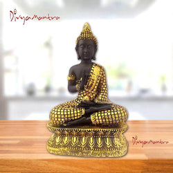 Divya Mantra Meditating Gautam Buddha Murti Sculpture Statue Puja Idol for Blessing, Peace, Good Luck, Wealth, Money and Serenity Home / Office Decor Showpiece Gift Item / Product - Golden and Black