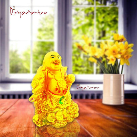 Divya Mantra Happy Man Laughing Buddha Holding Wealth Lucky Coins and Ingot Yuan Bao Statue for Attracting Money Prosperity Financial Luck Home Decor Gift - Divya Mantra