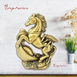 Divya Mantra Feng Shui Fly on/atop Galloping/Running Horse on Wealth Ingot, Coins Statue/Showpiece for Money, Fame, Power, Prestige, Career, Good Luck Home / Office Decor Gift Item / Product-Brown