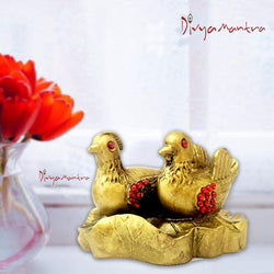 Divya Mantra Feng Shui Mandarin Ducks Pair Love Birds Statue Bedroom / Home Decor Gift Showpiece Item / Product for Good Luck, Harmony in Family, Romance Symbol, Happy Married Life - Multicolour - Divya Mantra