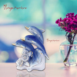 Divya Mantra Feng Shui 3 Blue Wealth Inviting Dolphin Fishes for Fortune, Enhancing Friendhip, Knowledge, Money, Fame, Prestige, Career, Good Luck Home / Office Decor Gift Item / Product-White, Blue