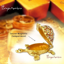 Divya Mantra Feng Shui Metal Bejeweled Wish Fulfilling Tortoise with Secret Magnetic Compartment Box Home Decor Statue Gift Showpiece Item / Product For Good Luck, Longevity, Wealth - Golden, Red