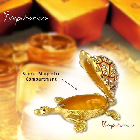 Divya Mantra Feng Shui Metal Bejeweled Wish Fulfilling Tortoise with Secret Magnetic Compartment Box Home Decor Statue Gift Showpiece Item / Product For Good Luck, Longevity, Wealth - Golden, Red - Divya Mantra