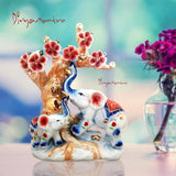 Divya Mantra Feng Shui Vintage Ceramic Feng Shui Trunk Up Elephant and Baby with Money Ingot and Wealth Coins Tree Vastu Sculpture; Good Luck, Prosperity; Home Office Table Decor Gift Item-Multicolor - Divya Mantra