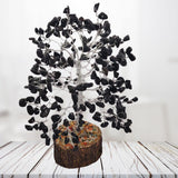 Divya Mantra Feng Shui Natural Black Agate Chakra Healing Gem Stone Bonsai Fortune Vastu Plant Sculpture Tree; Good Luck, Wealth, Success & Prosperity; Home Office Table Decor Gift Item; 300 Crystals - Divya Mantra