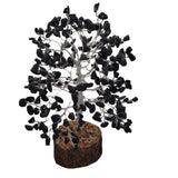 Divya Mantra Feng Shui Natural Black Agate Chakra Healing Gem Stone Bonsai Fortune Vastu Plant Sculpture Tree; Good Luck, Wealth, Success & Prosperity; Home Office Table Decor Gift Item; 300 Crystals