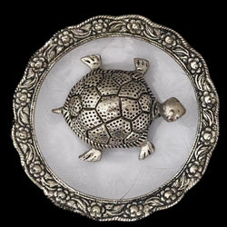 Divya Mantra Feng Shui Metal 4 Inch Tortoise / Turtle with Glass Water 5.5 Inch Diameter Plate; Vastu Living Positivity, Wealth, Money, Good Luck & Longevity; Home, Office Decor Gift Items / Products - Divya Mantra