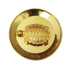Divya Mantra Feng Shui Panchdhatu 2 Inch Tortoise / Turtle with 3.5 Inch Diameter Water Plate; Vastu Living Positivity, Wealth, Money, Good Luck & Longevity; Home, Office Decor Gift Items / Products