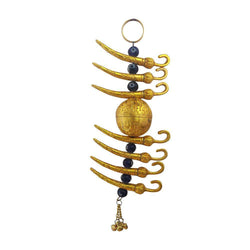 Divya Mantra Metallic Nimbu Mirchi Buri Nazar Battu Evil Eye Decor Talisman Gift Ornament Accessories / Good Luck Charm Protection from Negativity Interior Home/Office/Door/ Wall Hanging Showpiece - Divya Mantra
