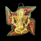 Divya Mantra Decorative Meenakari Sri Swastika Ganesha Metallic Vastu Craft Decor Talisman Gift Ornament /Good Luck Charm Protection from Negativity Interior/Home/Office/Door/ Wall Hanging Showpiece - Divya Mantra