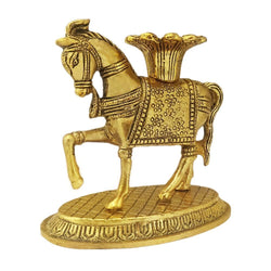 Divya Mantra Decorative Metallic Feng Shui Horse Candle Holder Stand Vastu Gift Item/Good Luck Charm for Money, Success, Wealth, Career Interior/Living Room / Home/Office/Table Decor Showpiece Product - Divya Mantra