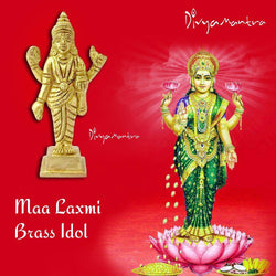 Divya Mantra Sri Hindu Goddess Laxmi Maa Idol Sculpture Statue Murti- Puja/Pooja Room, Meditation, Prayer, Office, Temple, Home Decor Gift Collection Item/Product- Wealth, Money, Good Luck, Prosperity - Divya Mantra