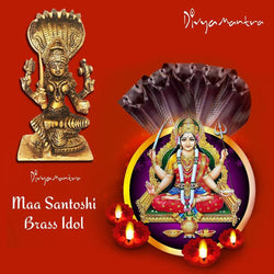 Divya Mantra Sri Hindu Goddess Mata Santoshi Maa Idol Sculpture Statue Murti - Puja/Pooja Room, Meditation, Prayer, Office, Temple, Home Decor Gift Collection Item/Product-Money, Good Luck, Prosperity