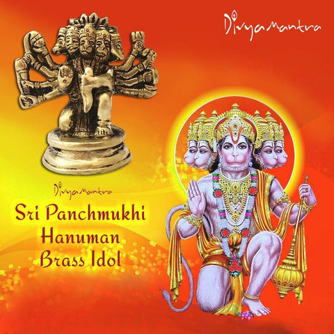 Divya Mantra Sri Hindu God Panchmukhi (Five Faced) Hanuman Idol Sculpture Statue Murti - Puja/Pooja Room, Meditation, Prayer, Office, Business, Temple, Home Decor Lucky Gift Collection Item/Product - Divya Mantra