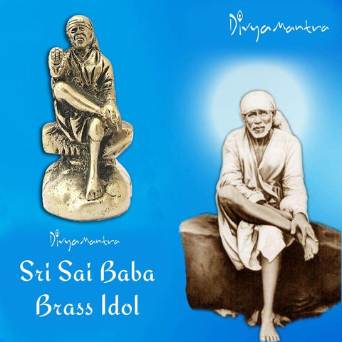 Divya Mantra Sri Shirdi Saibaba Sai Nath Guru Idol Sculpture Statue Murti - Puja/Pooja Room, Meditation, Prayer, Office, Temple, Home Decor Gift Collection Item/Product-Money, Good Luck, Prosperity - Divya Mantra