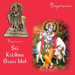 Divya Mantra Sri Hindu God Krishna with Kamdhenu Cow Idol Sculpture Statue Murti - Puja Room, Meditation, Prayer, Office, Business, Temple, Home Decor Gift Collection Item – Money/Good Luck/Prosperity