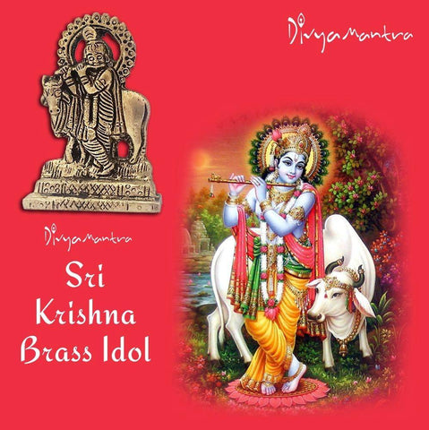 Divya Mantra Sri Hindu God Krishna with Kamdhenu Cow Idol Sculpture Statue Murti - Puja Room, Meditation, Prayer, Office, Business, Temple, Home Decor Gift Collection Item – Money/Good Luck/Prosperity - Divya Mantra