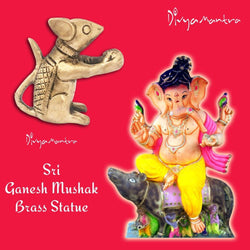 Divya Mantra Sri Hindu God Ganesha Vahan Mushak Sculpture Statue Murti - Puja Room, Meditation, Prayer, Office, Business, Temple, Home Decor Gift Collection Item/Product-Money, Good Luck, Prosperity - Divya Mantra
