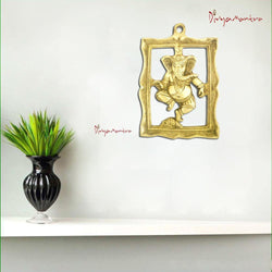 Divya Mantra Hindu God Sri Dancing Ganesha Brass Door / Wall Hanging Showpiece - Puja Room, Meditation, Prayer, Office, Business, Temple, Home Decor Gift Collection Item / Product -Money, Good Luck - Divya Mantra