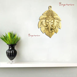Divya Mantra Hindu God Sri Ganesha on Patta (Leaf) Brass Wall Hanging Showpiece - Puja Room, Meditation, Prayer, Office, Business, Temple, Home Decor Gift Collection Item / Product -Money, Good Luck - Divya Mantra