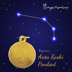 Divya Mantra Aries Zodiac Sign Mesh Rashi & Swami Graha Mangal Yantra Sri Chakra Sacred Hindu Geometry Ancient Vedic Tantra Scriptures Good Luck Metallic Pendant / Locket for Men /Women / Boys / Girls - Divya Mantra