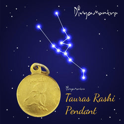 Divya Mantra Taurus Zodiac Sign Vrishabha Rashi & Sri Shukra Yantra Sri Chakra Sacred Hindu Geometry Ancient Vedic Tantra Scriptures Good Luck Metallic Pendant / Locket for Men /Women / Boys / Girls - Divya Mantra