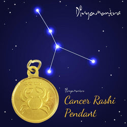 Divya Mantra Cancer Zodiac Sign Kark / Karka Rashi & Sri Chandra Yantra Sri Chakra Sacred Hindu Geometry Ancient Vedic Tantra Scriptures Good Luck Metallic Pendant / Locket for Men /Women /Boys /Girls - Divya Mantra