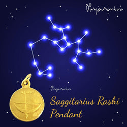 Divya Mantra Sagittarius Zodiac Sign Dhanu Rashi & Sri Guru Yantra Chakra Sacred Hindu Geometry Ancient Vedic Tantra Scriptures Good Luck Metallic Pendant / Locket – Men / Women / Boys / Girls - Divya Mantra