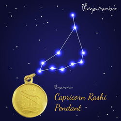 Divya Mantra Capricorn Zodiac Sign Makar Rashi & Sri Shani Saturn Yantra Chakra Sacred Hindu Geometry Ancient Vedic Tantra Scriptures Good Luck Metallic Pendant / Locket – Men / Women / Boys / Girls - Divya Mantra