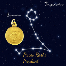 Divya Mantra Pisces (Fish) Zodiac Sign Meen Rashi & Sri Shani Saturn Yantra Chakra Sacred Hindu Geometry Ancient Vedic Tantra Scriptures Good Luck Metallic Pendant / Locket – Men /Women / Boys / Girls - Divya Mantra