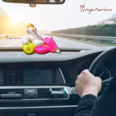 Divya Mantra Hindu God Sri Ganesha Idol Sculpture Statue Puja / Car Dashboard Interior Decoration Accessories Showpiece Decor Murti for Money, Good Luck, Prosperity, Positivity - Gift Item / Product