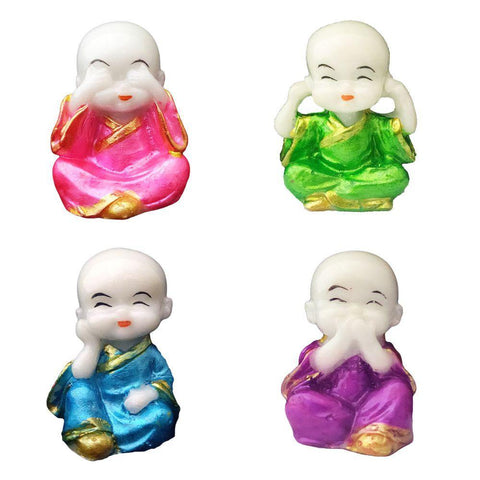 Divya Mantra Feng Shui Playful Tibetan Monk Happy Baby Lama Car Dashboard Interior Decoration Accessories Showpiece Decor Toy Dolls, Collection Figurines, Gifts for Kids- for Money, Good Luck Set of 4