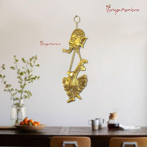 Divya Mantra Hindu God Sri Ganesha Brass Entrance Door / Wall Hanging Showpiece - Puja Room, Meditation, Prayer, Office, Business, Temple, Home Decor Gift Collection Item / Product -Money, Good Luck - Divya Mantra