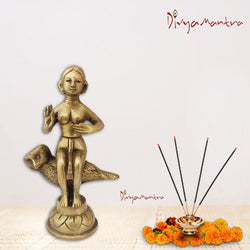 Divya Mantra Sri Hindu Goddess Laxmi Maa On Owl Idol Sculpture Statue Murti - Puja Room, Meditation, Prayer, Office, Temple, Home Decor Gift Collection Item/Product-Money, Good Luck, Prosperity-Yellow - Divya Mantra