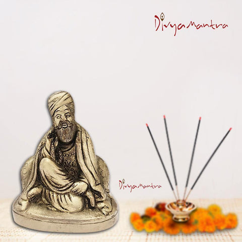 Divya Mantra God Sikh Guru Nanak Dev Ji Idol Sculpture Statue Brass Murti - Puja, Gurudwara, Meditation, Office, Business, Home Decor Gift Collection Item/Product, Money, Good Luck, Prosperity-Yellow - Divya Mantra