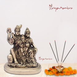 Divya Mantra Hindu God Shankar Bhagwan Parvati Devi and Ganesha Shiv Parivar Idol Sculpture Statue Murti-Puja Room, Meditation, Office, Home Decor Gift Collection Item/Product - Money,Good Luck-Yellow