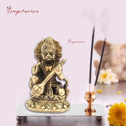 Divya Mantra Hindu God Sri Gadadhari Bajrangbali Hanuman Idol Sculpture Statue Murti Puja Room, Temple, Meditation, Office, Business, Home Decor Gift Collection Item/Product - Money, Good Luck-Yellow