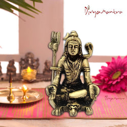 Divya Mantra Hindu Religious God Meditating Shiv Bhagwan With Yoga Mudra Idol Sculpture Statue Brass Murti Puja Room, Temple, Meditation, Concentration, Home Decor Item/Product-Money,Good Luck-Yellow