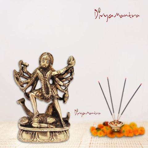 Divya Mantra Sri Hindu Goddess Mata Maha Kali Maa Rudraroop dol Sculpture Statue Murti - Puja Room, Meditation, Prayer, Office, Temple, Home Decor Gift Item/Product-Money, Good Luck, Prosperity-Yellow - Divya Mantra