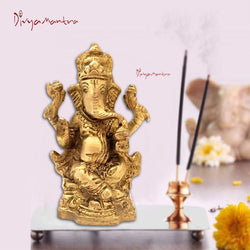 Divya Mantra Sri Hindu God Ganesha Ganpati Idol Sculpture Statue Murti - Puja Room, Meditation, Prayer, Office, Business, Home Decor Gift Collection Item/Product-Money, Good Luck, Prosperity - Yellow - Divya Mantra