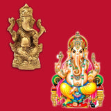 Divya Mantra Sri Hindu God Ganesha Ganpati Idol Sculpture Statue Murti - Puja Room, Meditation, Prayer, Office, Business, Home Decor Gift Collection Item/Product-Money, Good Luck, Prosperity - Yellow