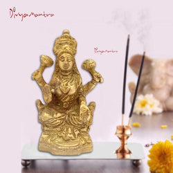 Divya Mantra Sri Hindu Goddess Mata Laxmi Maa Idol Sculpture Statue Murti - Puja Room, Meditation, Prayer, Office, Temple, Home Decor Gift Collection Item/Product-Money, Good Luck, Prosperity - Yellow